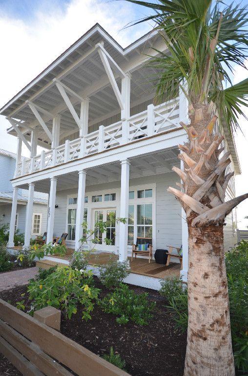 Lollygag Beach House exterior with extended roof line. Cinnamon Shore, Port Aransas TX