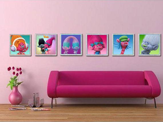 51 Ways To Diy The Bedroom Of Your Kids Dreams: Trolls Wall Art-Trolls Posters-Trollsl Bedroom By