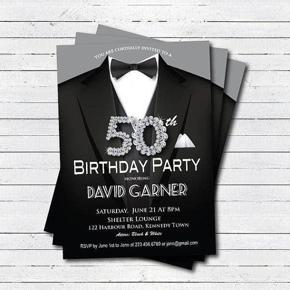 man 50th birthday invitation. Black tie and suit by CrazyLime