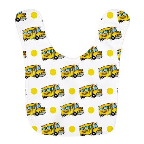 Cartoon School Bus, Yellow White Polka Dots Bib on CafePress.com