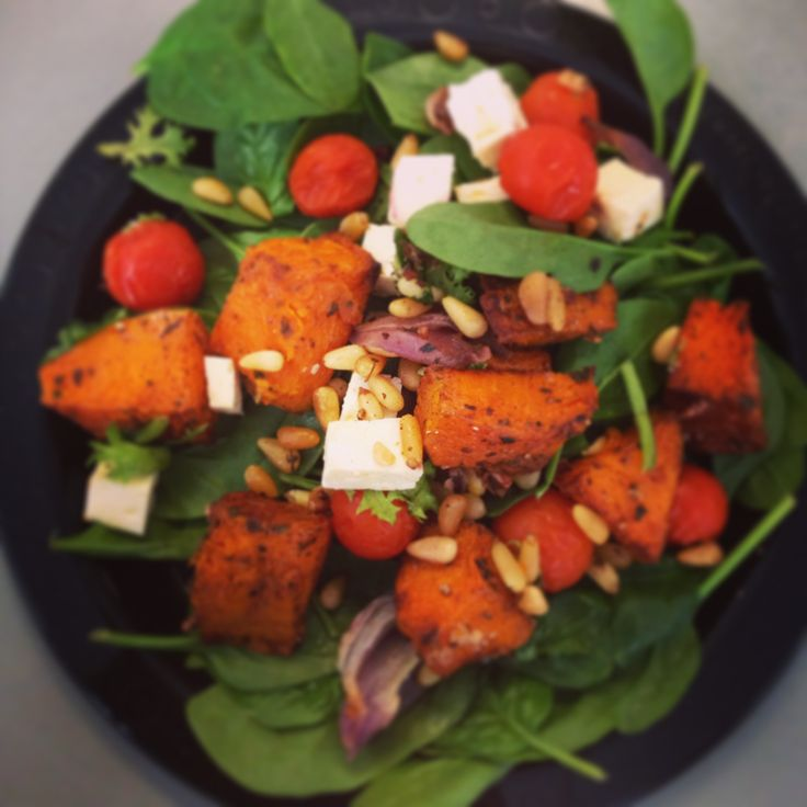 Cinnamon Sweet Potato with Roasted Tomato  Feta Salad - delish 12WBT meal from Michelle Bridges