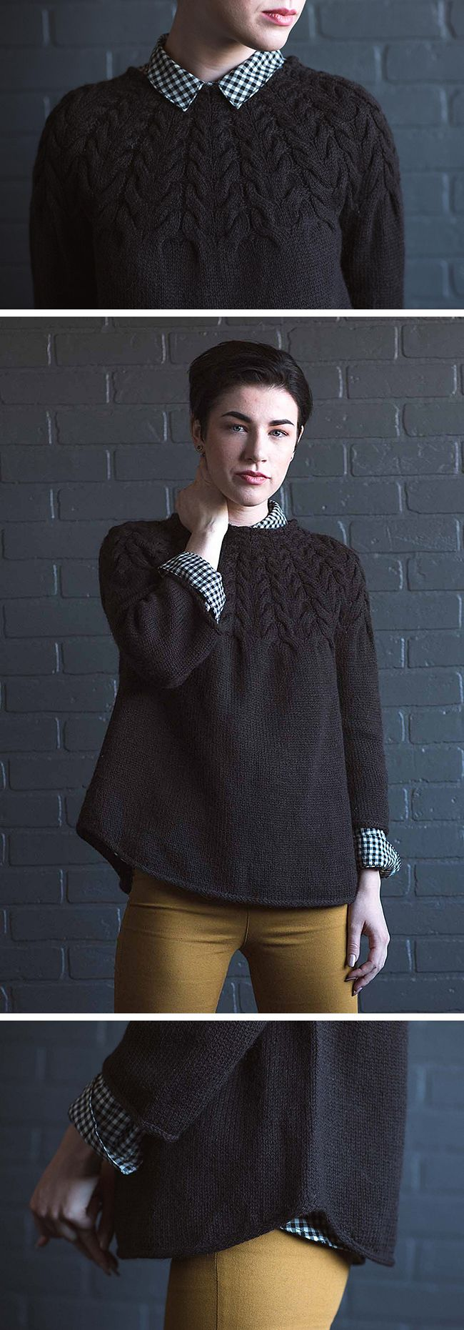 The Fall issue of Interweave Knits looks like a good one overall, but I'm especially taken with this Angelina Pullover, designed by Mary Anne Benedetto. I love a good yoke with cables in place of colo