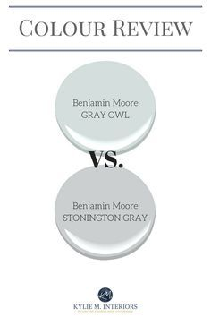 Paint colour review. Benjamin Moore Gray Owl and Stonington Gray cool grays with undertones and LRV by Kylie M Interiors.jpg