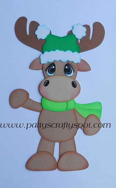 Winter Moose with Green Hat