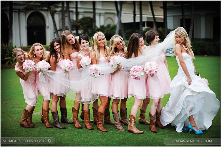 Hannah designed Peacock Blue peep toe platform pumps as the perfect compliment to her bridesmaids' cowboy boots!