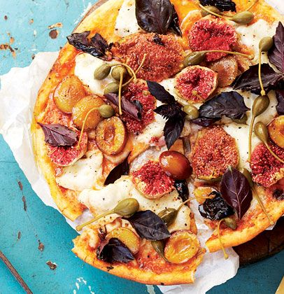 mozzarella, fig and prune pizza