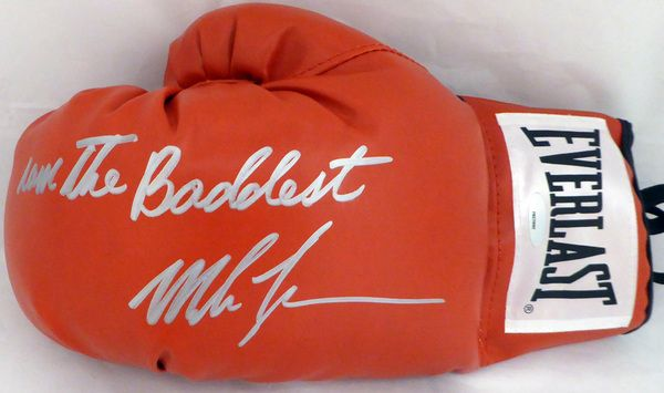 """Mike Tyson Autographed Red Everlast Boxing Glove """"""""I Am The Baddest"""""""" TriStar #7827092"""