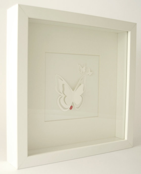 White Butterfly Picture in Shadow Box Frame by lilyanddelilah, £29.00