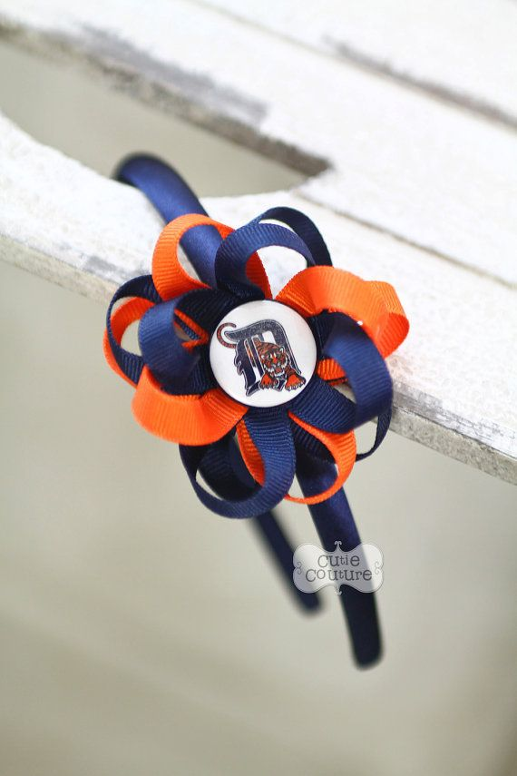 Detroit Tigers Inspired Headband-Detroit Tigers-Detroit Tigers Bow-Boutique Style on Etsy, $7.95