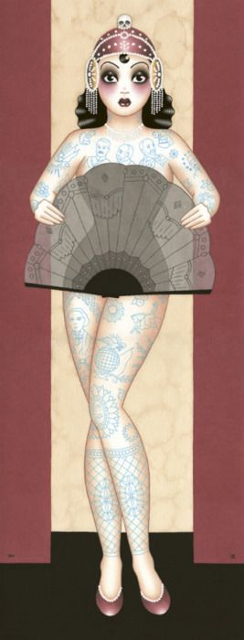 Tattooed pin-up inspiration by one of my favorite artists, Angelique Houtkamp