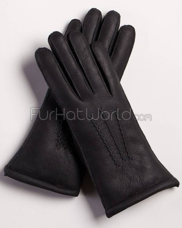 Womens Napa Leather Shearling Sheepskin Gloves - Black - essential item for my trip