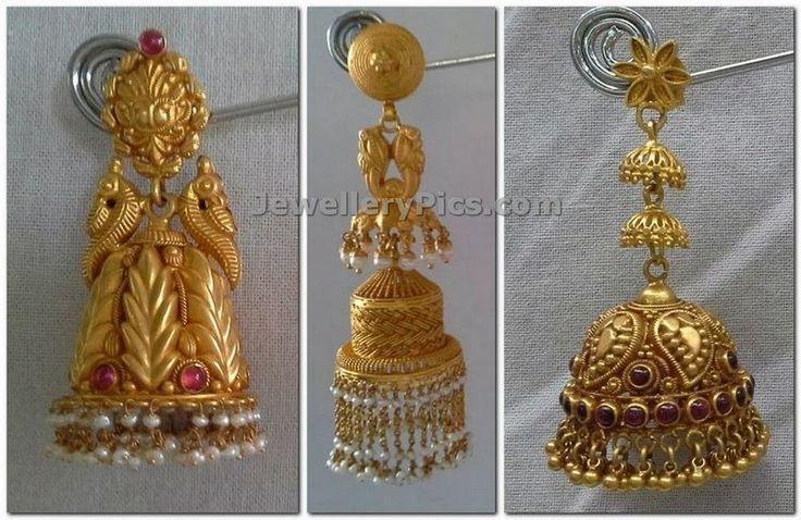 Antique gold jumka buttalu temple jewelelry designs of indian earrings
