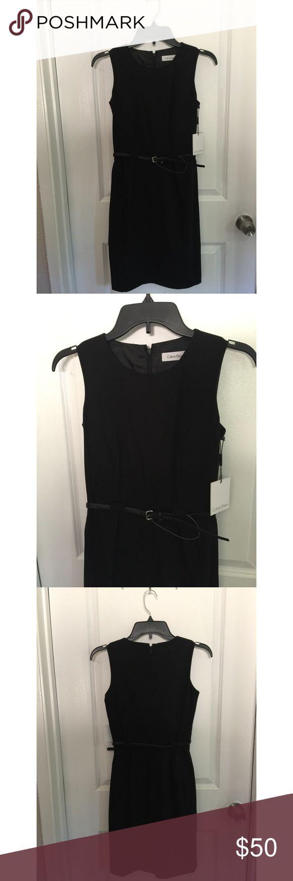 NWT Calvin Klein black dress with belt size 2P New with tags! Calvin Klein black dress with belt in a size 2 P. Calvin Klein Dresses Midi
