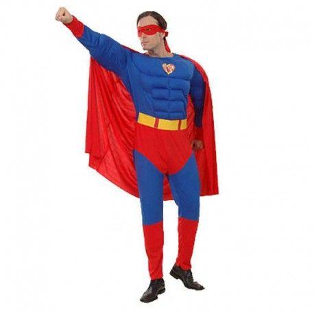 Disfraces Personajes hombre | Disfraz de Superman musculoso XL. Nada te detendrá con tus superpoderes y tu capa. Contiene buzo de cuerpo entero musculoso, capa y antifaz.Talla XXL. 22,95€ #superman #supermanmusculoso #disfrazsuperman #disfraz #superheroe #disfrazpersonaje #disfraces