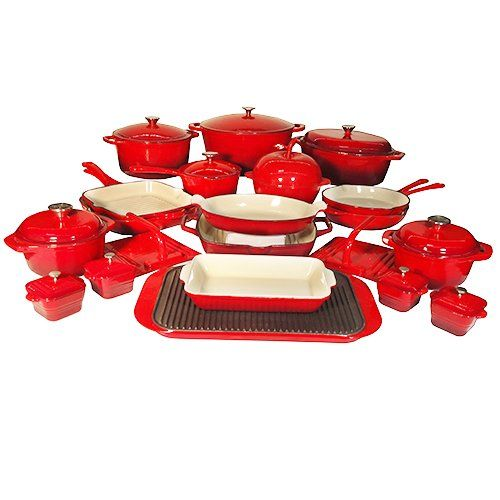 $799.99 | Le Chef 32 Piece Enameled Cast Iron Red Cookware Set. SUPER SALE. | (CLICK IMAGE TWICE FOR UPDATED PRICING AND INFO) See More Enamel Cast Iron Cookware Sets at www.momsbestkitchen.com/product-category/cast-iron-cookware-sets/