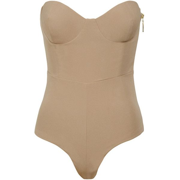 'Reckless' Nude Strapless Bodysuit - Mistress Rocks (3.060 RUB) ❤ liked on Polyvore featuring intimates and shapewear