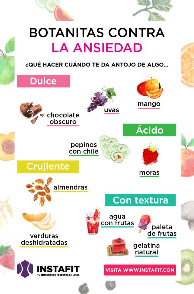 Botanas para sustituir los antojos que te dan por ansiedad.  www.instafit.com