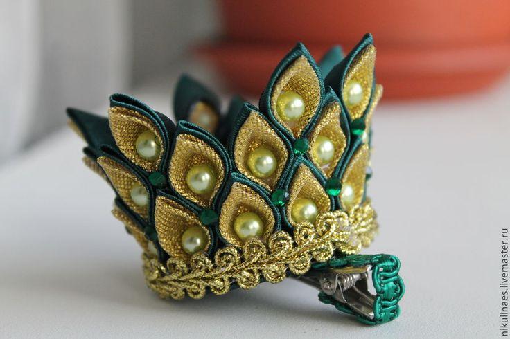 """Купить Корона """"Канзаши"""" на зажиме - корона, ручная работа, канзаши, Новый Год, Праздник, утренник"""