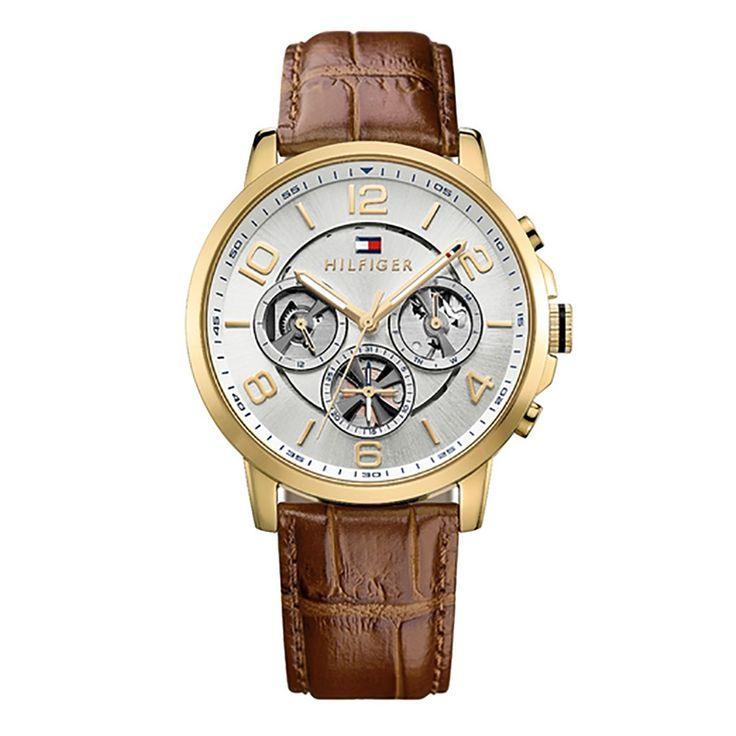 Ανδρικό ρολόι TOMMY HILFIGER 1791291 Keagan με ασημί καντράν & επίχρυσο ατσάλινο μπρασελέ | Ρολόγια TOMMY HILFIGER ΤΣΑΛΔΑΡΗΣ στο Χαλάνδρι #tommyhilfiger #keagan #λουρι