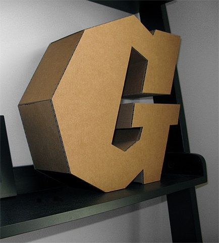 Cool DIY: Typography Sculpture, Crafts Ideas, Cardboard Typography, Typography Treatments, 3D Letters, Cardboard Letters, Crafts Diy, Diy Collection, 3D Types
