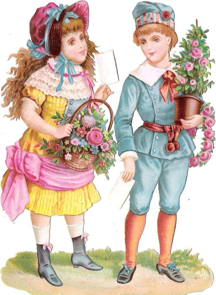 Oblaten Glanzbild scrap die cut chromo Kind child  15cm enfant couple Paar