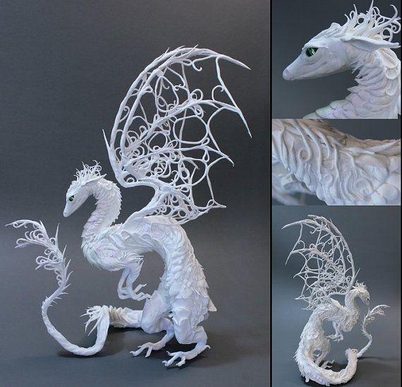 CUSTOM ORDER White Dragon medium por creaturesfromel en Etsy