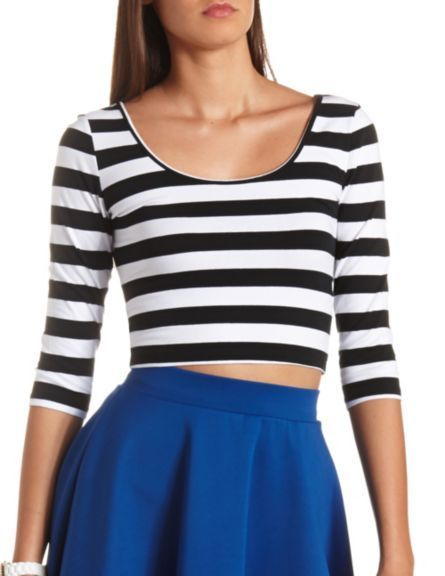 e4d7ee08f73a09 Strappy Back Striped Crop Top  Charlotte Russe  LatestTeensWear ...