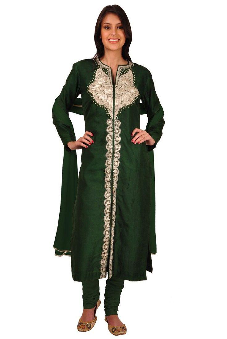 Heritage Art: Green Antique Pure Tilla Kashmiri Handcrafted Jacket Suit