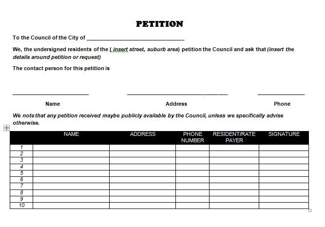 Petition Template   Activism