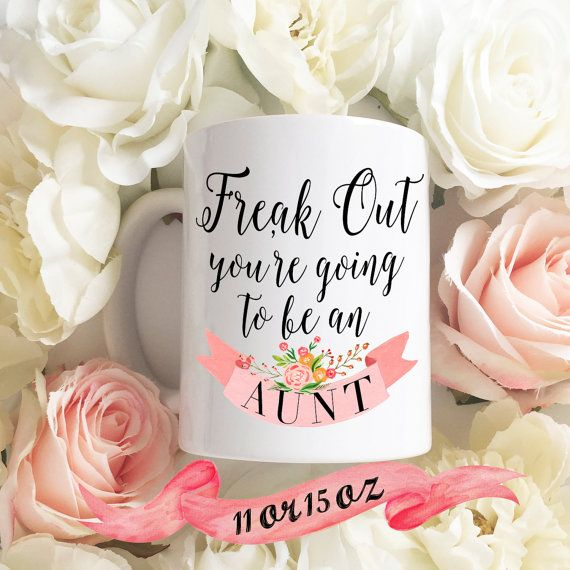 Pregnancy Announcement Coffee Mug / Future Aunt Auntie Surprise Gift for Sister 11 oz or 15 oz Ceramic Dishwasher Safe / Great Gift
