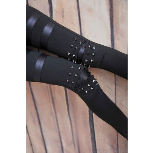 Vintage Personality Rivet Leather Leggings for only $25.00 ,cheap Fashion Leggings - Clothing & Apparel online shopping,Vintage Personality Rivet Leather Leggings