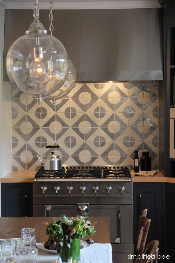 designer navy grey kitchen with geometric terra cota tile backsplash