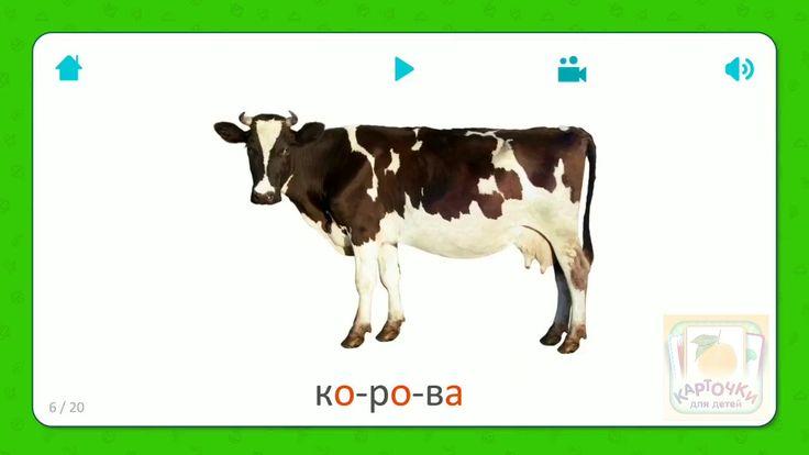 Карточки для детей - Корова (Cow) - Домашние животные Бесплатная установка приложения для iOS и Android: http://onelink.to/flashcardsforkid
