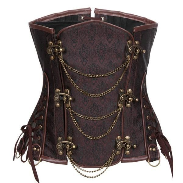 - Clasp Closure Front, Lace-up Back for Cinching - Supported with Spiral Steel Bones, help flattening the stomach - Fabric: Brocade and Cotton; Lining: 100% Cotton - Gothic Steampunk Style Corset Best