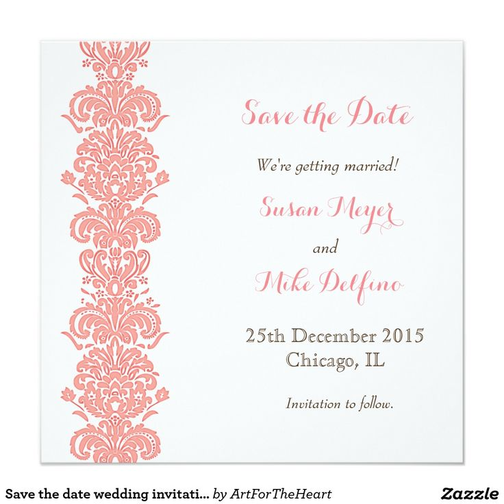 109 best save the date best cards invitations for weddings save the date wedding invitation card pink stopboris Images