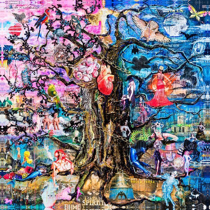 EDEN TREE Presso un'insenatura del mare c'è una verde quercia; un catena d'oro pende da essa.vi è legato un gatto sapiente che si muove in cerchio giorno e notte: va a destra e intona un canto, a sinistra racconta una fiaba.Un albero fiabesco, un ricordo di infanzia: la famosa quercia che divide le tenebre dal paradiso. Una riflessione sul dualismo dell'animo umano, il bene ed il male separati ma allo stesso tempo legati tra loro da una catena dorata, come un DNA dell'animo e della natura…
