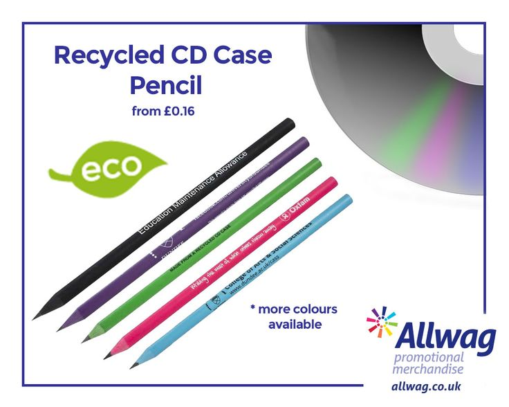 We've got a wide range of eco friendly custom pencils to market your brand! Our recycled CD case pencils are made using recycled cd cases in the UK. Visit our website to get yours now