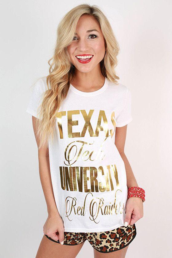 Metallic Foil Crew Tee Texas Tech University