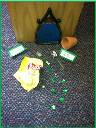 Friends~It is that time of year again!  The little door is back.   Every year this little door appears in my classroom and the St. Patrick's Day inferring begins!      Every day in March, little items are left outside this door and my kiddos work really hard trying figure out what they mean.  We work on generating questions like who lives behind the door?  What does L.T. L. stand for? It is really amazing how my students turn into little detectives!