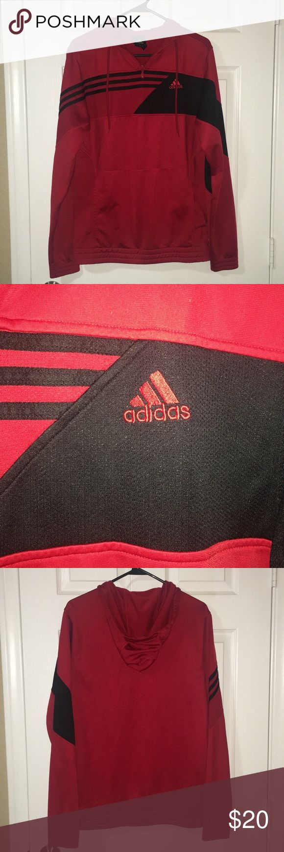 Men's Adidas Sweater with hoodie Men's Red Adidas Pullover, hooded Sweater Size Small Pre-owned and in great condition.   Comes from a pet/smoke free home. adidas Sweaters