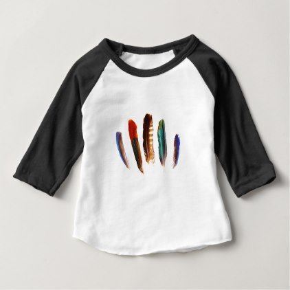 colorful feathers baby T-Shirt - red gifts color style cyo diy personalize unique