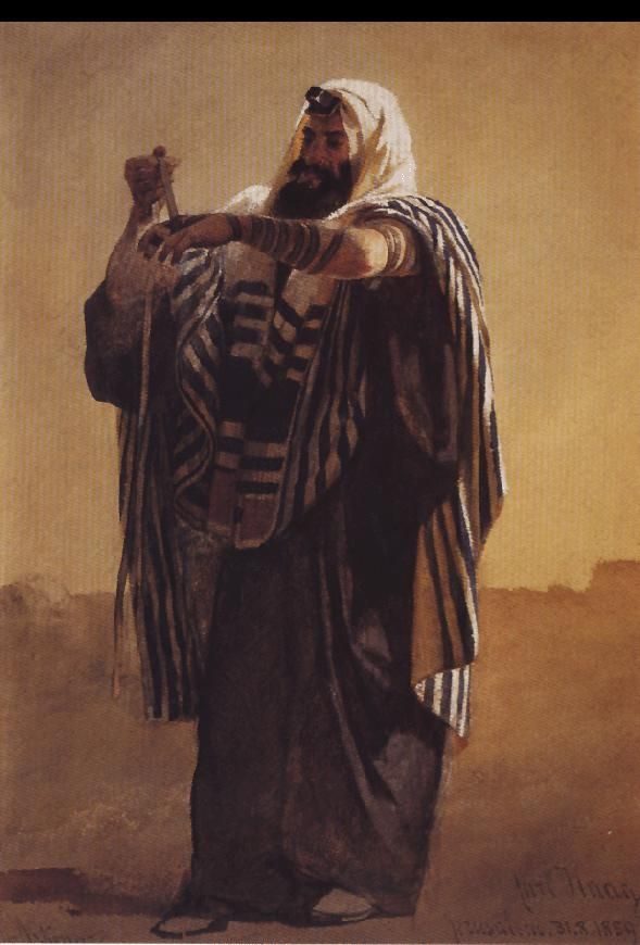 Carl Haag A Jerusalemite Shepherd Winding the Phylacteries for the Hand 1895. Watercolor on paper.