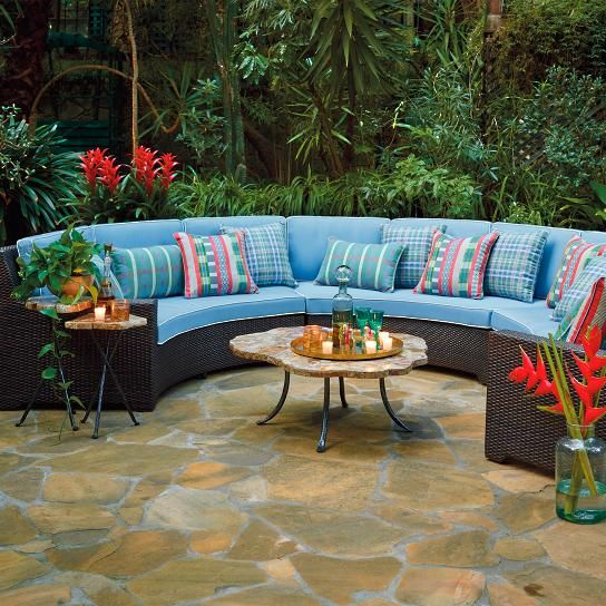 palermo curved modular set in bronze finish cushions sand with canvas piping