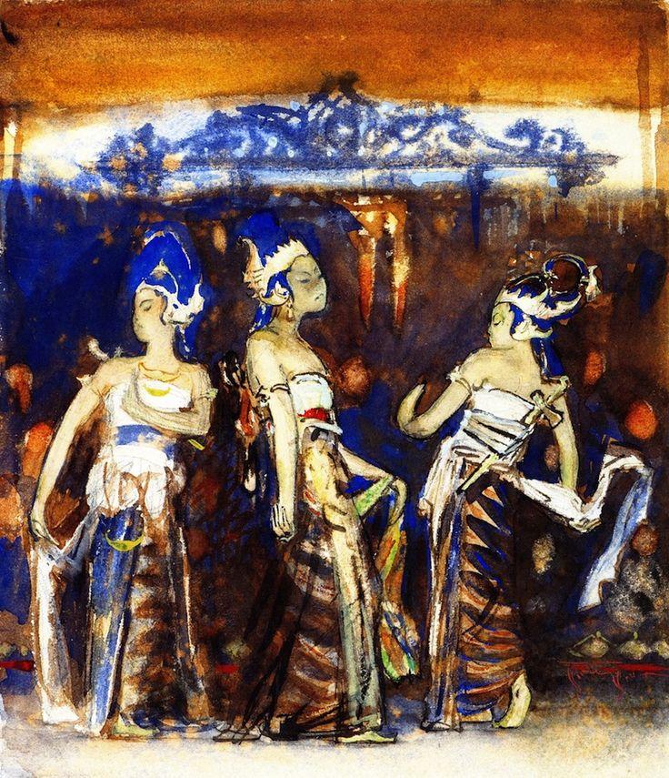The Athenaeum - Javanese Dancing Girls (study) (John Singer Sargent - ) 1889