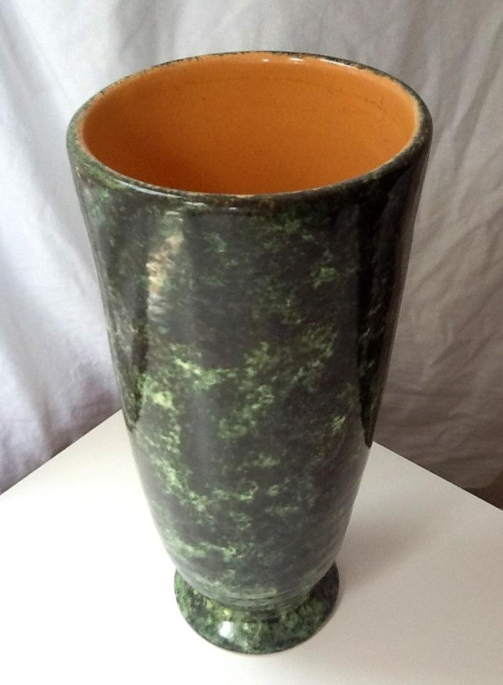 Green vase with orange interior, mid size