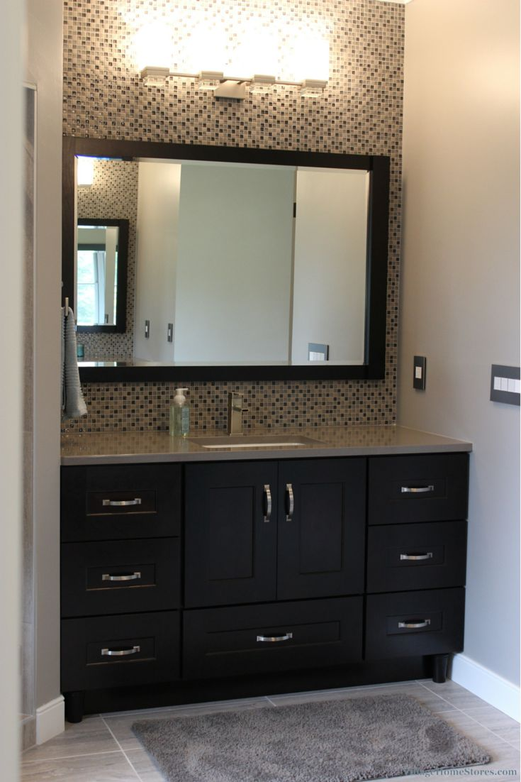 A Dark Cherry Bathroom Vanity Paired With Gray Quartz