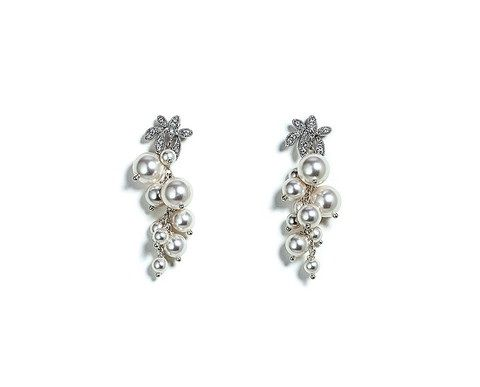 White Swarovski Pearl CZ Leaf Earrings - Ottawa Jewelry Store