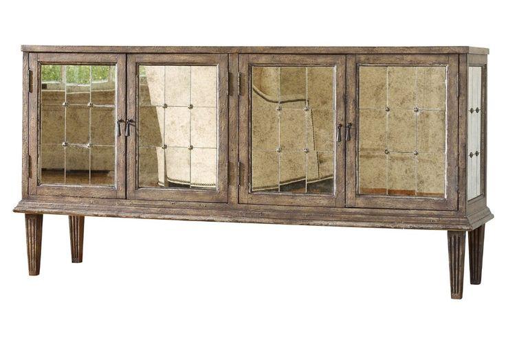 """DeVera 73"""" Mirrored Buffet, Cashew by Hooker Furniture"""