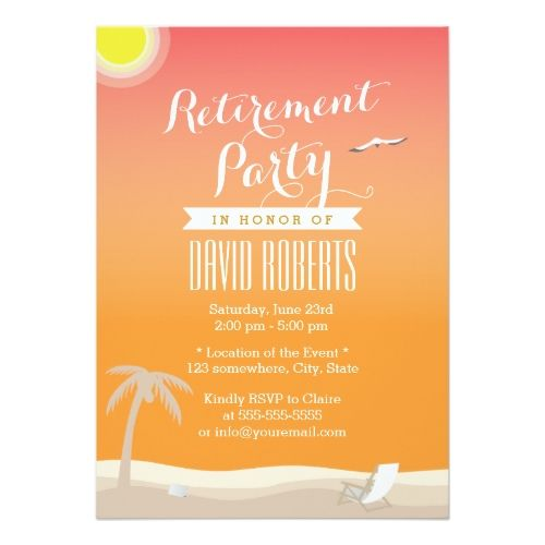 Retirement Party Invitations Tropical Summer Beach Retirement Party Invitations