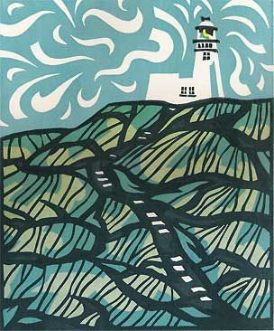 Lighthouse print with a contemporary fluid style, Yorkshire coast, by Lynne Roebuck.